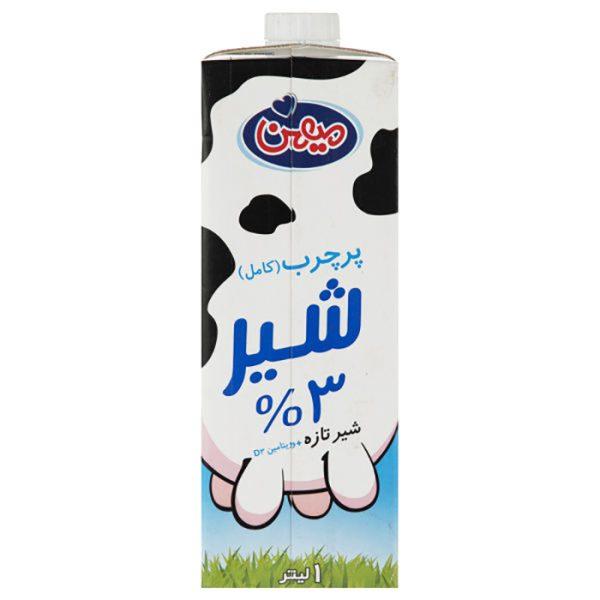 شیر یک لیتری پرچرب ۳.۲% چربی اسکوئر میهن باکس ۱۰ عددی